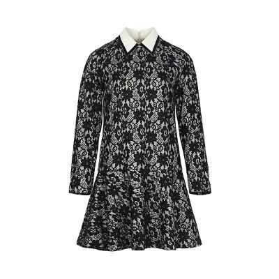 collar point lace dress multi